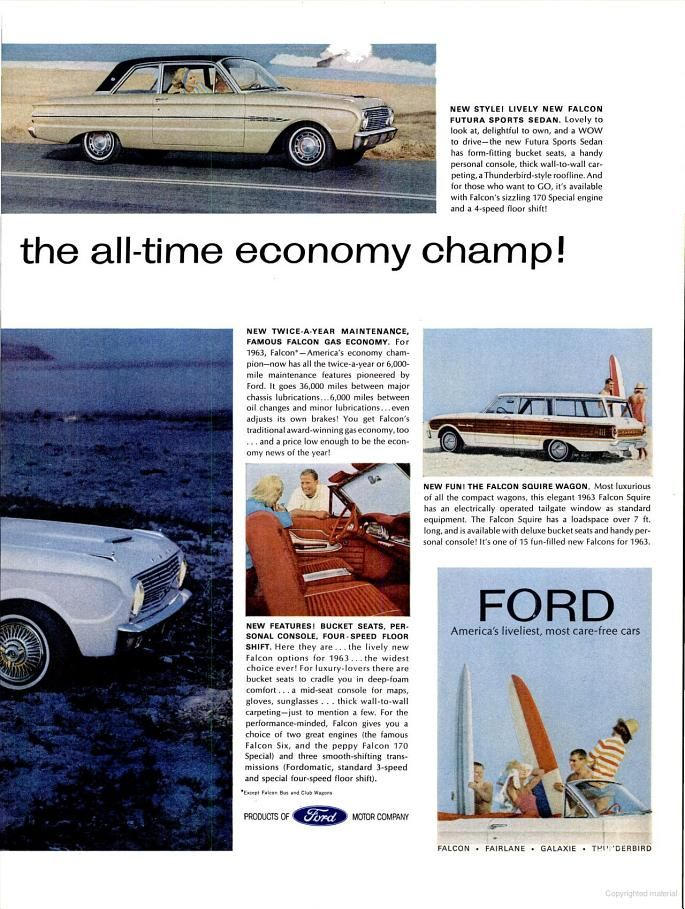 Cars On Line >> RIGHT...1963 Ford Line-Up of New Cars (1962) | Cars ...