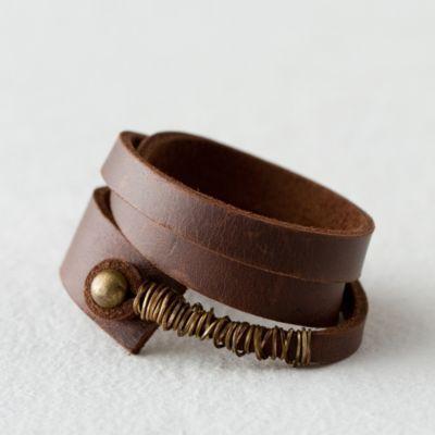 Leather Brass Wrap Bracelet in Spa+Accessories JEWELRY Bracelets+Rings at Terrai…