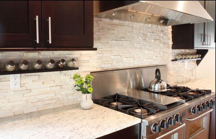 Kitchen stacked stone backsplash