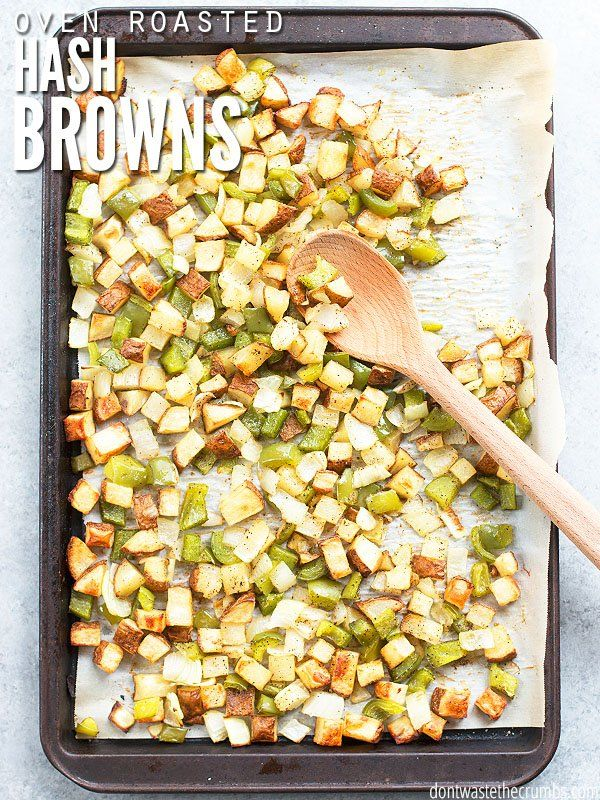 This oven-roasted hash brown recipe isn't quite like McDonalds, because homemade is always better! The potatoes are diced and baked on a sheet pan in the oven to a golden crisp. This easy southern breakfast is healthy and made from scratch, without the need for preformed and frozen patties! :: DontWastetheCrumbs.com