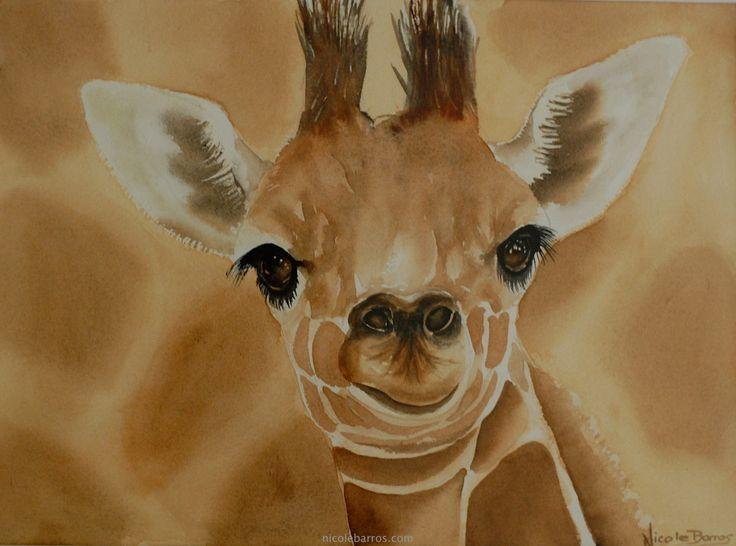 "Baby Giraffe, Original watercolour painting 13""x10"". Wall Art, Decor, Baby room decor, Nursery decor, - pinned by pin4etsy.com"