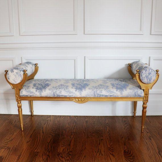 French Antique Bench Gilded Gold Bench Gilt by BonMaisonDecor