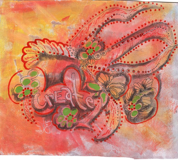 First experiment on red rosin paper from hardware store. Used gesso, acrylics,skewer for scratching, pen, paint pen, distress inks and charcoal pencil...by linda giese