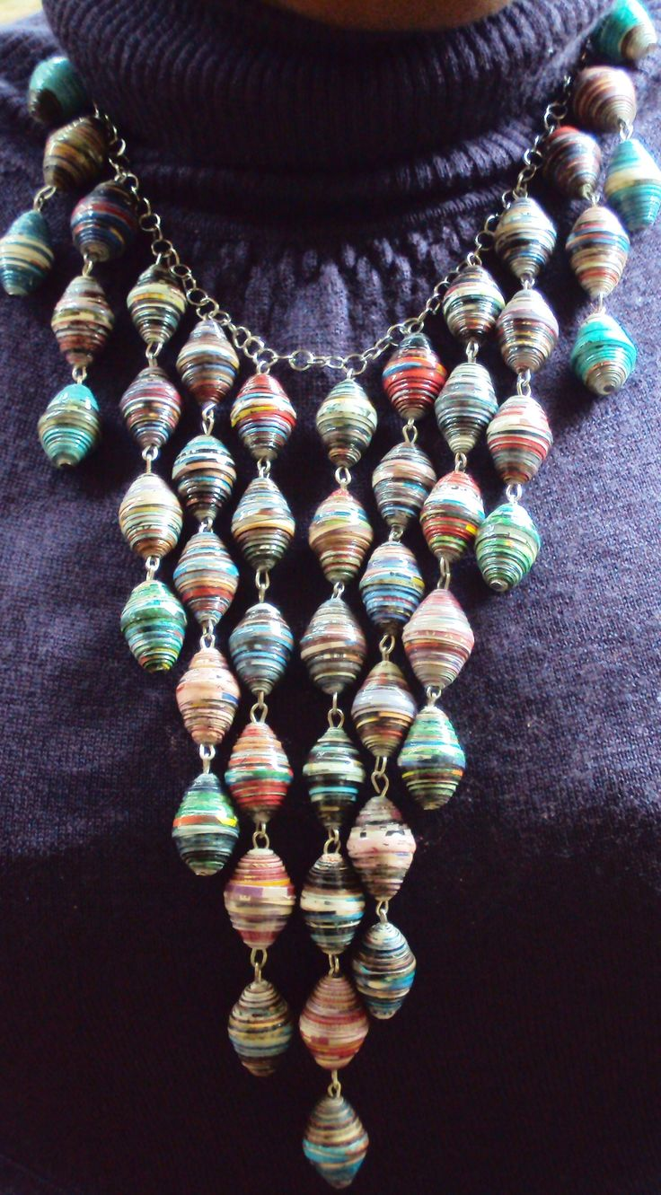 Paper-beaded necklace