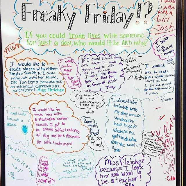 Their answers for Freaky Friday were...interesting, thoughtful, and hilarious I love these kids! #freakyfriday #miss5thswhiteboard #5thgradeinfloridaswhiteboard #iteach456 #teacherspayteachers #firstyearteacher #iteachtoo #iteach5th #teachersfollowteachers