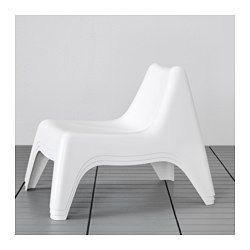IKEA - BUNSÖ, Children's easy chair, outdoor, white, , The easy chair will look fresher and last longer, as the plastic is both fade resistant and UV stabilised to prevent cracking and drying out.Can be stacked, which helps you save space.The drain hole in the seat lets water drain out.Easy to keep clean – just wipe with a damp cloth.