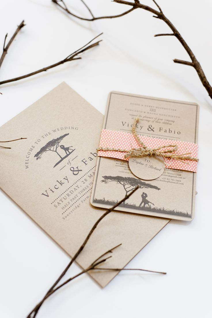 Rustic wedding invitation printed on brown kraft paper www.creativeheroes.co.za Photo by: D'amor Photography
