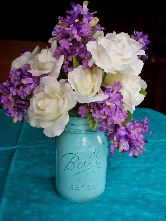 Painted Jar Floral Arrangement Made With Dollar Store Silk Flowers For Dil S Bridal Shower