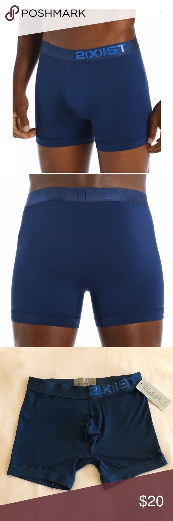2XIST Electric Boxer Brief in Blue b87 Give your underwear drawer a jolt of comfort w/ these Electric collection boxer briefs! The soft, Nylon blend knit is engineered to wick moisture away from your skin so you'll stay dry and cool throughout the day. Wicks away moisture to keep you dry and comfortable. Contour pouch centers and supports you. Crotch gusset inseam reduces chafing and bunching between legs. Seamless seat design. Smooth, exposed microfiber waistband with silicone embossed…