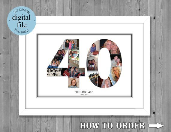 40th birthday gift 40th birthday 40th birthday gift for men 40th birthday gift for women photo collage number photo collage