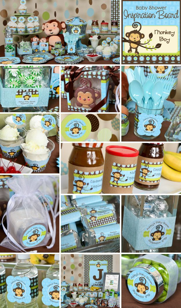 Monkey Boy baby shower or birthday party theme is one of our top sellers and it is easy to see why with this Monkey Boy party. With do-it-yourself personalized sticker labels, and BigDotOfHappiness.com's personalized wall art and original centerpieces, creating an impressive buffet table is a