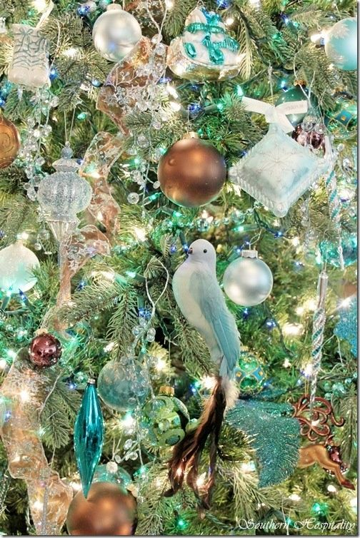 Gold Bird Christmas Tree Decorations : Dramatic bronze and teal christmas tree snacks