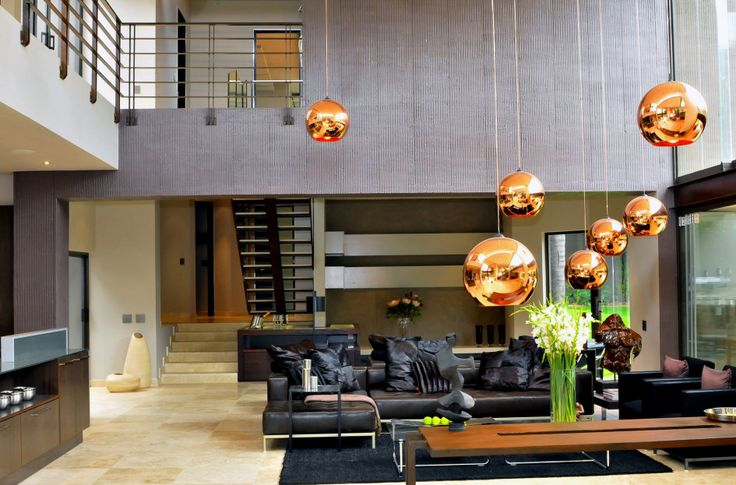 Architecture, Remarkable Luxury Modern Villa Interior Design In South Africa By Nico Van Der Meulen Featuring Living Room Idea With Pendant Lamp, Sofa And Marble Floor: Astonishing Contemporary Home Design with Modern Interior Design