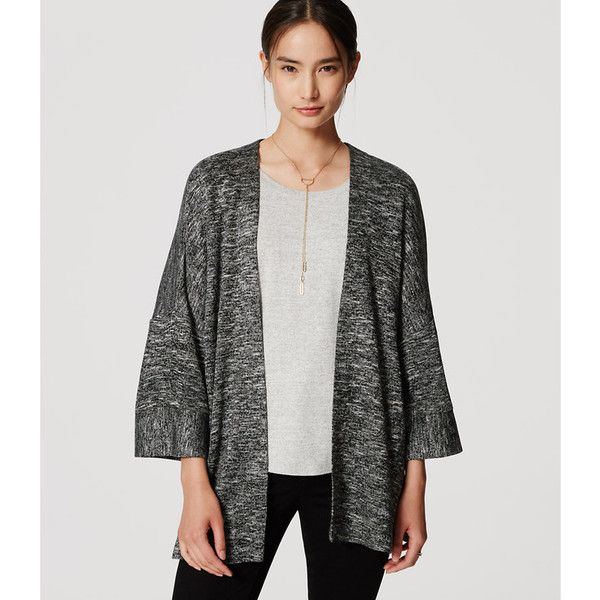 LOFT Petite Spacedye Kimono Cardigan ($50) ❤ liked on Polyvore featuring tops, cardigans, black, slouchy cardigan, petite cardigans, kimono sleeve cardigan, kimono cardigan and side slit top