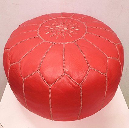 Genuine Leather Moroccan pouffe - Red - (Filled) 55x55x30cm -