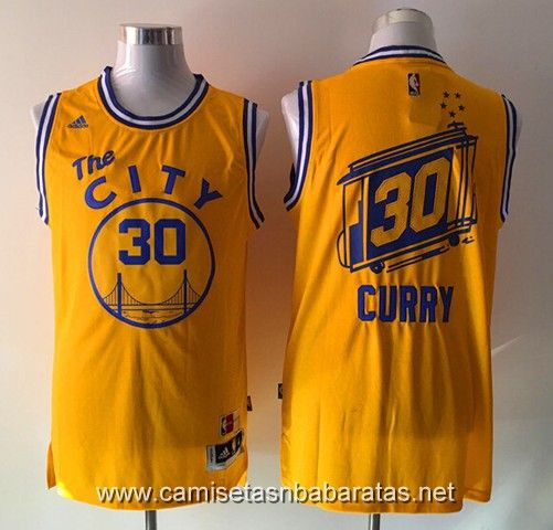 Camisetas The City Golden State Warriors amarillo #30 Curry €23.99