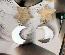 Beautiful Vintage Sterling Silver 925 Earrings, Star & Moon Shape, 25.5g