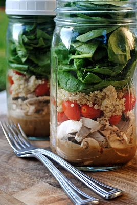 Salad in a jar recipe! Amazing idea for work! As long as the dressing and lettuce do not touch in the jar, they can be made 1 week in advance while staying fresh with the lid screwed tight. Genius!