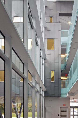 The Stephen Hawking Centre at Perimeter Institute II in Waterloo, ON (Canada) by Teeple Achitects Inc. Contractor: Flynn Canada Ltd  #Architecture #QuartzZinc #AnthraZinc #Canada #Façade #Zinc #VMZINC #Chalet #StandingSeam #FlatLock
