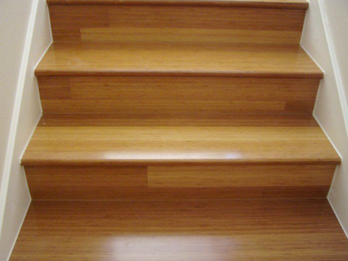 Bamboo wood stairs example st johns ranch pinterest for Hardwood floors on stairs