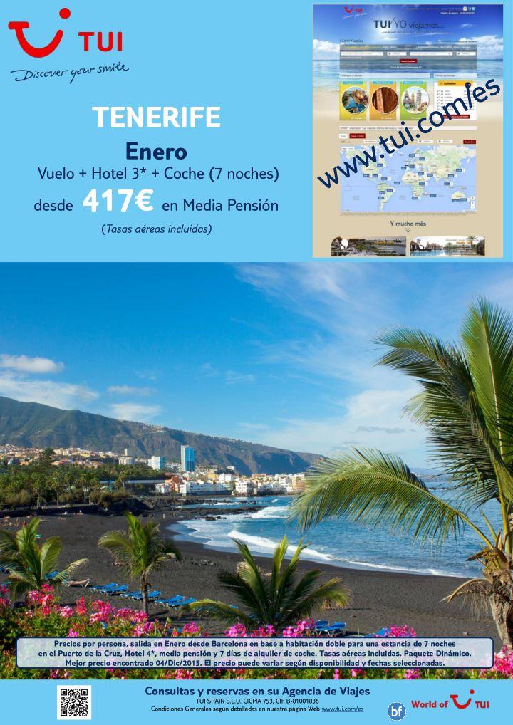 !Seleccion Web a Tenerife! Enero. 7 noches. Desde Barcelona. Vuelo  Hotel 4*  Coche. Precio final desde 417E