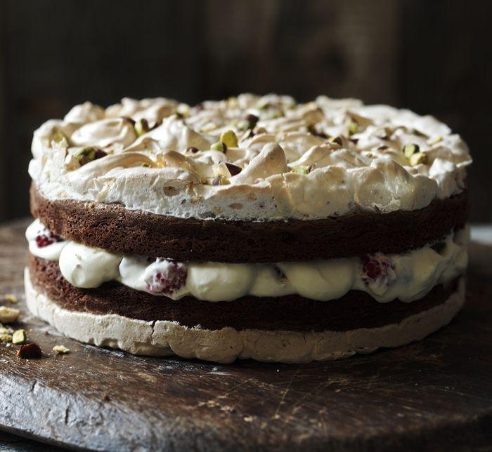 Chocolate. Brownie. Meringue. Cake. Plus raspberries. Oh my, yes.