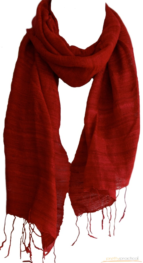 Ginger Raw Silk Scarf in Red