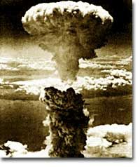 A mushroom cloud rises over the city of Nagasaki on August 9, 1945, following the detonation of Fat Man. The second atomic weapon used against Japan, this single bomb resulted in the deaths of 80,000 Japanese citizens.