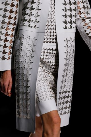 Laser-cut dogstooth and houndstooch Spring Leather Looks From Proenza Schouler, Roberto Cavalli, Sportmax, and More