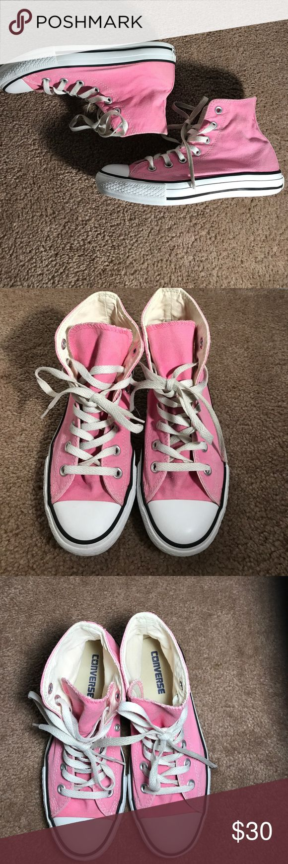Pink Hightop Converse Like new pink high top converse, barely worn maybe 2-3 times. Gorgeous color, they are out of the box clean in excellent condition. Feel free to ask questions and make me and offer! Converse Shoes Sneakers