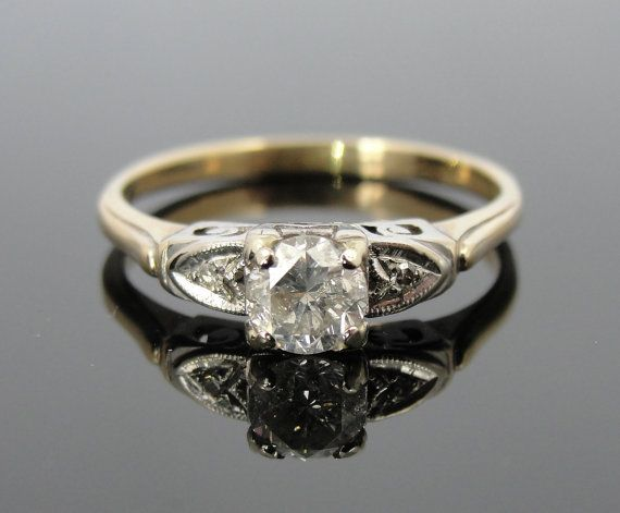 14k 1940s Diamond Engagement Ring with Spiraling by MSJewelers, $1285.00