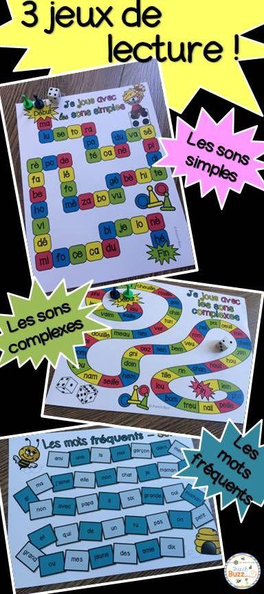 3 jeux de lecture idéals pour les centres de littératie: les sons simples, les…