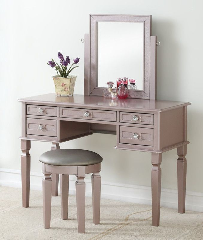 Poundex F4186 3 Pc Rose Gold Finish Wood Make Up Bedroom Vanity