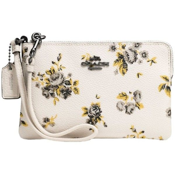 Coach Leather Prairie Print Small Wristlet Purse ($82) ❤ liked on Polyvore featuring bags, handbags, coach wristlet, floral print handbags, genuine leather handbags, white handbags and floral handbags