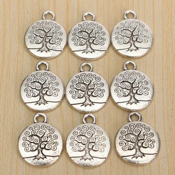 20pcs Vintage Antique Silver Tree of Life Necklace Pendant Charm DIY