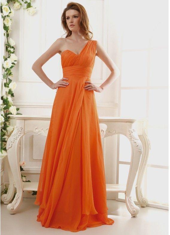 Orange One Shoulder Bridesmaid Dress!