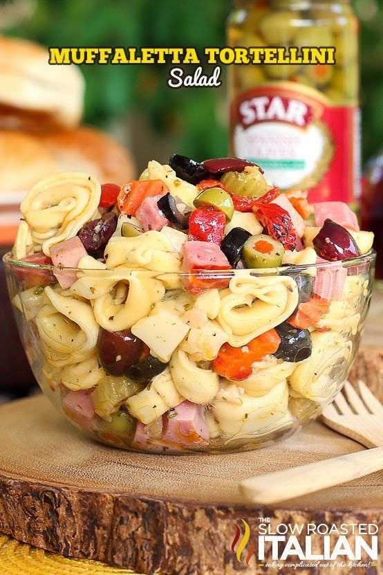 Muffaletta Tortellini Salad - has lots of meats and olives