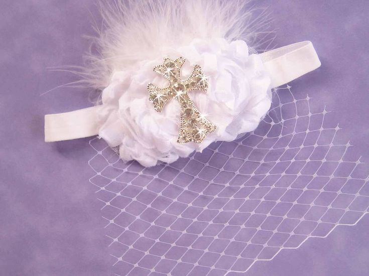 Excited to share the latest addition to my #etsy shop: Baby Baptism Headband with Cross .. Cross Headband . Christening Headband .. Birdcage Veil .. Shabby Roses Pearls #accessories #headband #hair #baptism #christening #christeningheadband #baptismheadband #babyheadband #birdcageveil #cross #stockingstuffer #Christmasheadband #giftforher