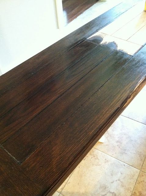 The color we're going for (Minwax Dark Walnut stain).