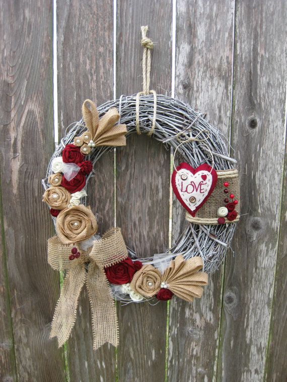 Valentines Day Wreath Sweethearts Day Wreath by rosepetalpretties, $55.00