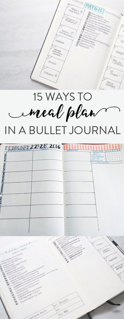 15 ways to do meal planning in your bullet journal #mealplanning #bulletjournal #planner