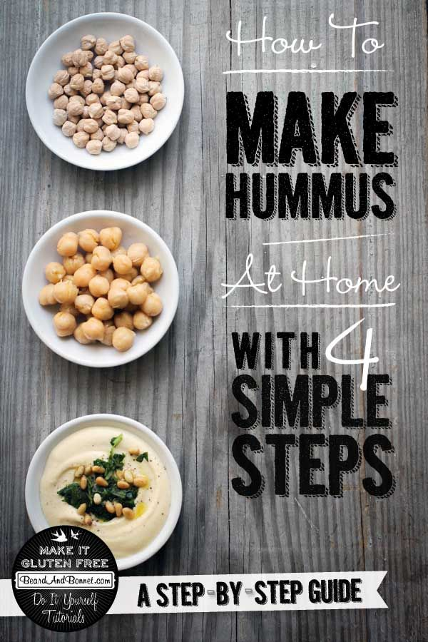 How to make hummus at home from scratch in 4 simple steps! Not only does it taste better and have no preservatives, but it's 50% cheaper than store bought.