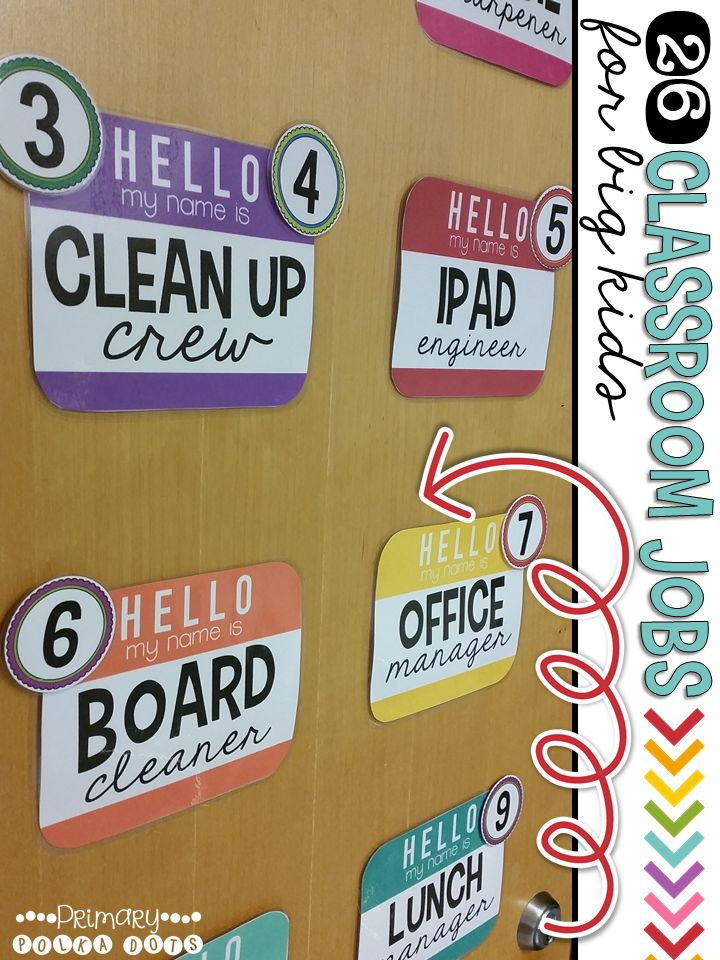 Classroom Jobs for Big Kids