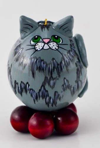 Grey Kitty  Christmas Ornament  Grey Tabby Cat  Pink by Gourdament