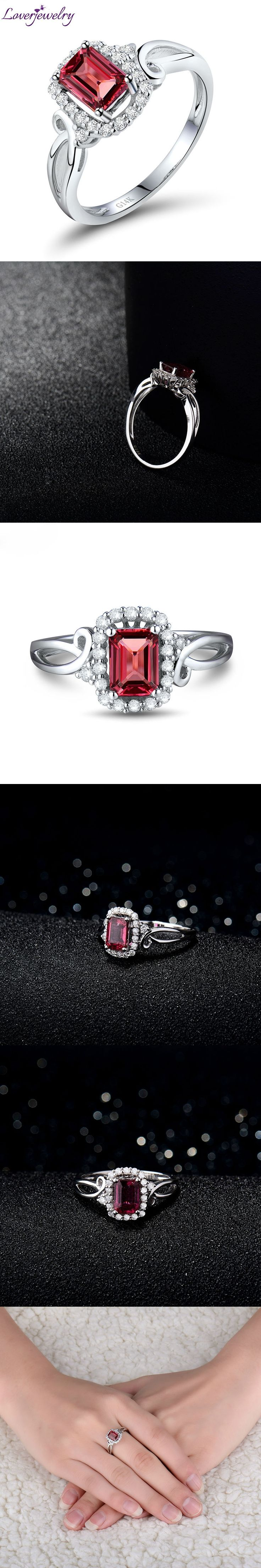 Wholesale Halo Diamond Tourmaline Promised Ring  In Solid 14Kt White Gold Fine Jewelry for Women Christmas WU034