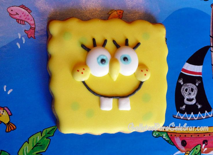 Galletas decoradas con la cara de Bob Esponja