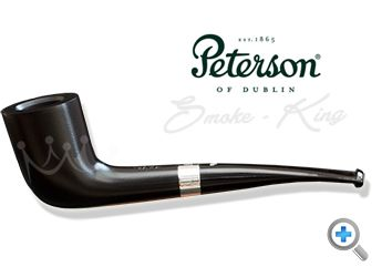 The Peterson Cara 268 Briar smoking pipe is a stunning ebony pipe with a delicate silver band in a smooth finish with a fishtail mouthpiece.