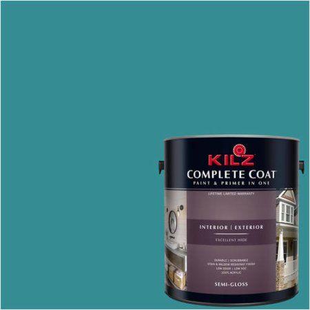 Kilz Complete Coat Interior/Exterior Paint & Primer in One, #RF120-02 Perfect Peacock, Blue