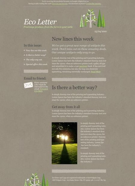 39 Beautiful Email Newsletter Templates - Eco Template