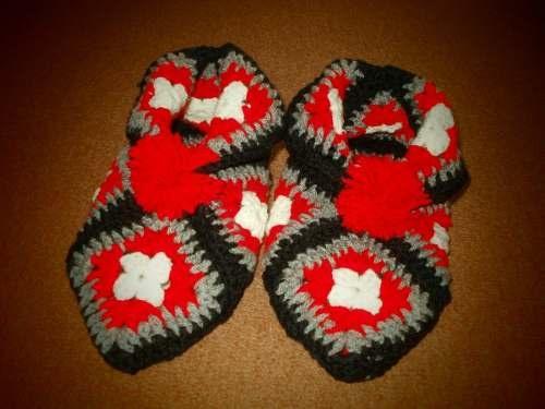 Pantuflas Tejidas Al Crochet: Pantufla Tejida, En Pantufla
